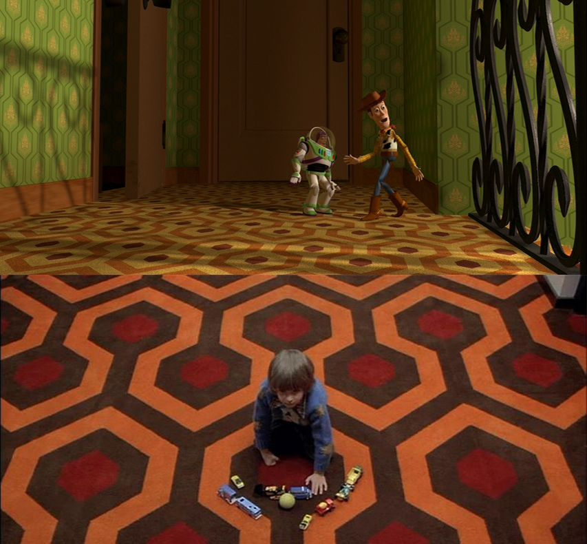 Toy Story's evil kid Sid's house with the same carpet pattern as The Shining's Overlook Hotel